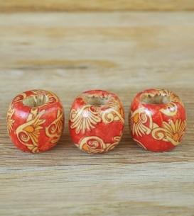 Wooden Beads x 3 - Fan