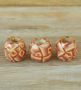 Wooden Beads x 3 - Leaf