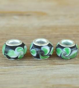 Glass Beads - Green Leaf x 3