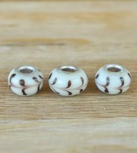 Glass Beads - White Swirl x 3